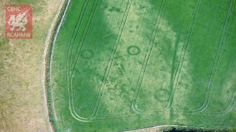 Cropmarks of a large Bronze Age barrow cemetery on the Llyn Peninsula, Gwynedd. Pic: RCAHMW