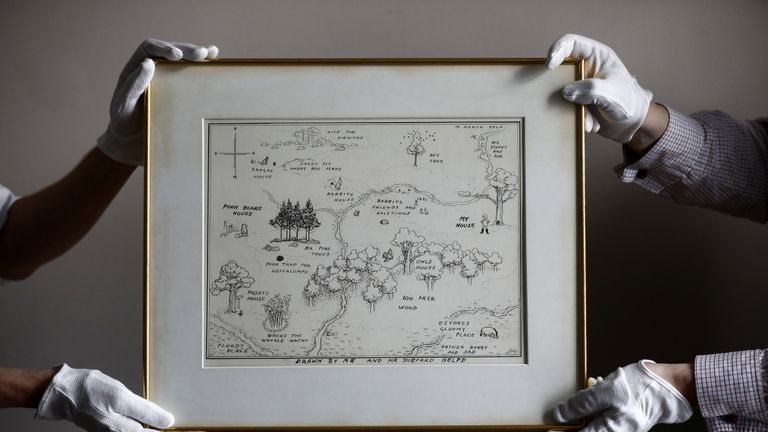 Picture from Sotheby's of the 1926 Hundred Acre Wood map illustrated by EH Shepard.