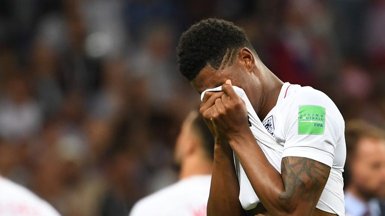A despondent Marcus Rashford after England's 2-1 defeat to Croatia