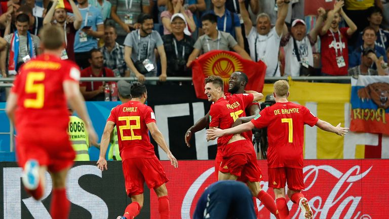 Nacer Chadli celebrates after scoring during the 2018 World Cup round of 16 match between Belgium and Japan