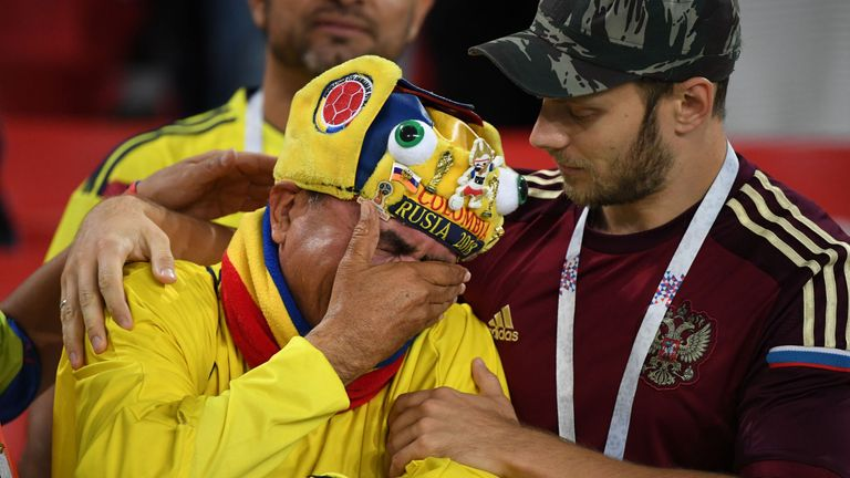 Colombian fans were left devastated after being knocked out of the World Cup by England