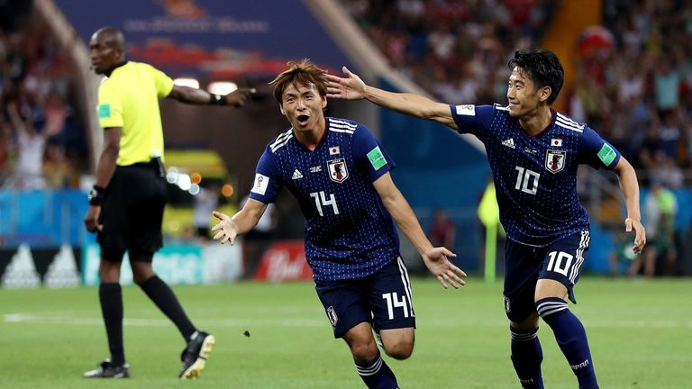 ROSTOV-ON-DON, RUSSIA - JULY 02: Takashi Inui of Japan celebrates after scoring his team's second goal during the 2018 FIFA World Cup Russia Round of 16 match between Belgium and Japan at Rostov Arena on July 2, 2018 in Rostov-on-Don, Russia. (Photo by Catherine Ivill/Getty Images)