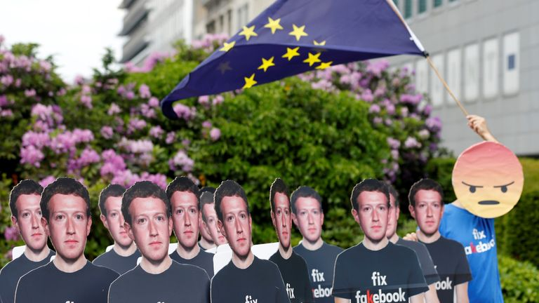 Activists staged protests when Facebook CEO Mark Zuckerberg gave evidence to the EU