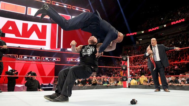WWE Raw: Lesnar attacks Angle, puts down Heyman