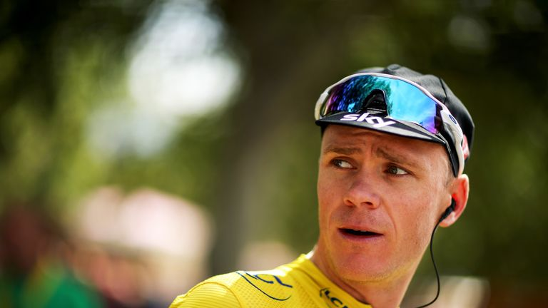 Team Sky's Chris Froome in the yellow jersey waits to go on the sign in podium stage 19 of the 2017 Le Tour de France