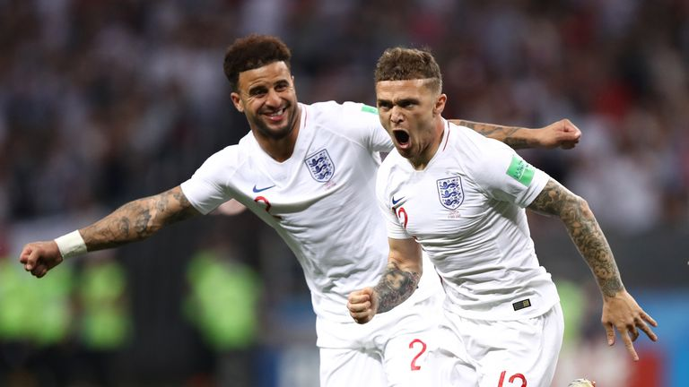 Kieran Trippier celebrates after his freekick puts England ahead in Moscow