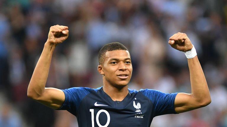 Kylian Mbappe celebrates after France take a 4-1 lead