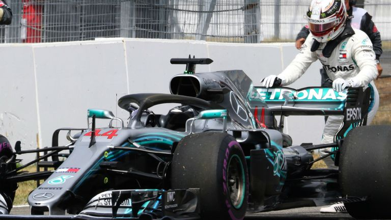 6e1df5eabf4 German GP  Lewis Hamilton out of qualifying after suffering Mercedes ...