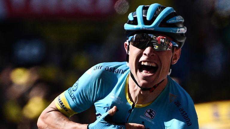 Denmark's Magnus Nielsen celebrates as he crosses the finish line