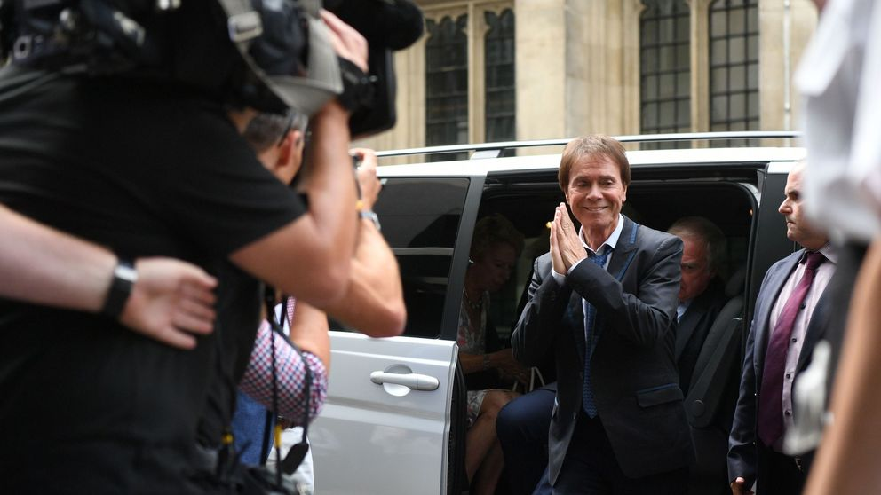 Sir Cliff Richard arrives at the Rolls Building to hear the judge's ruling