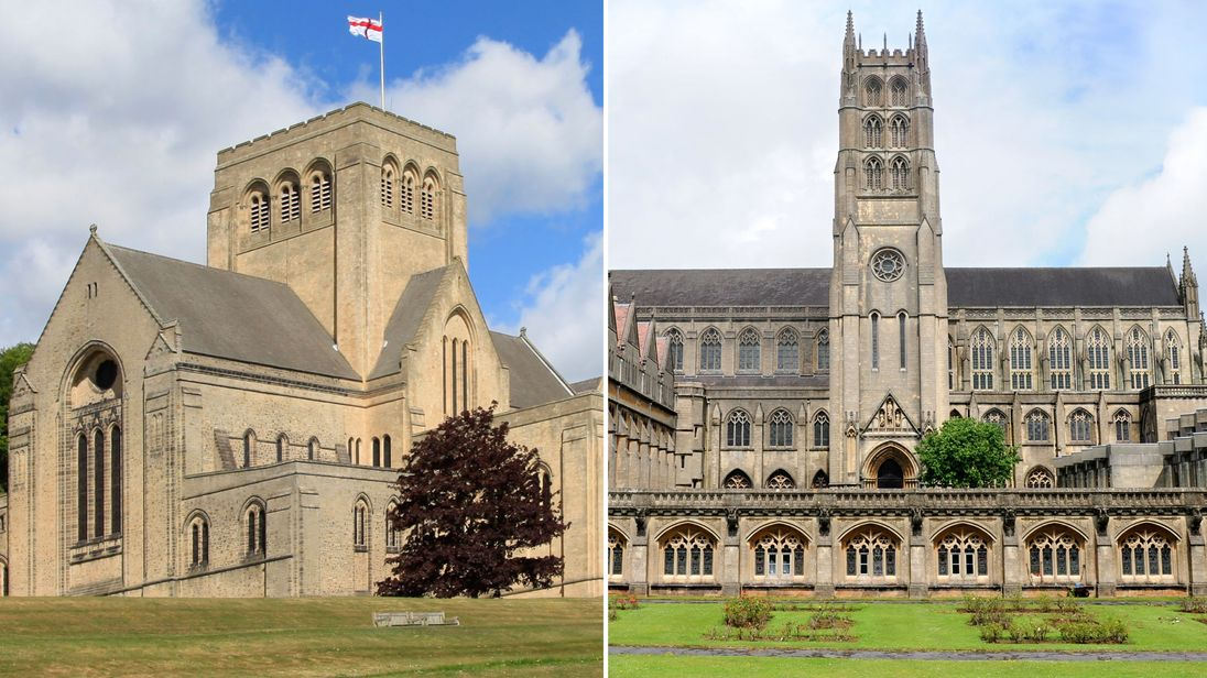 (L) Ampleforth Monastry and College, North Yorkshire, and Downside Abbey and School, Somerset