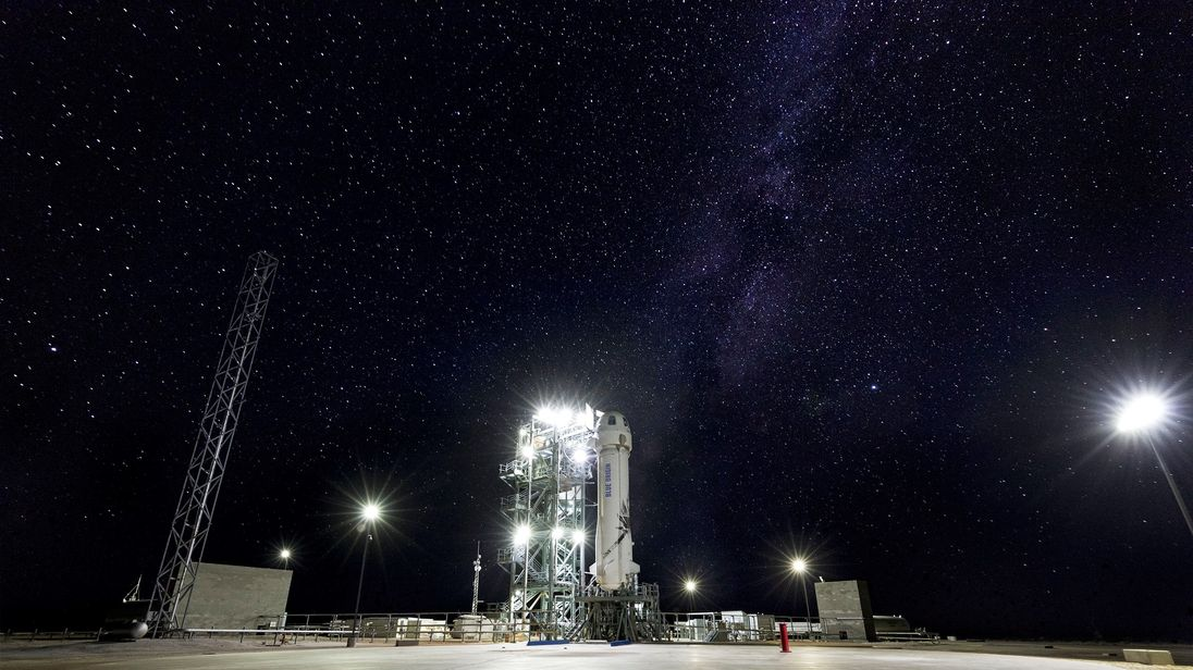 Blue Origin is one of six companies selected for NASA's Tipping Point solicitation. Pictured here, Blue Origin's New Shepard rocket lifted off July 18 carrying five NASA-supported technologies to flight test in space.