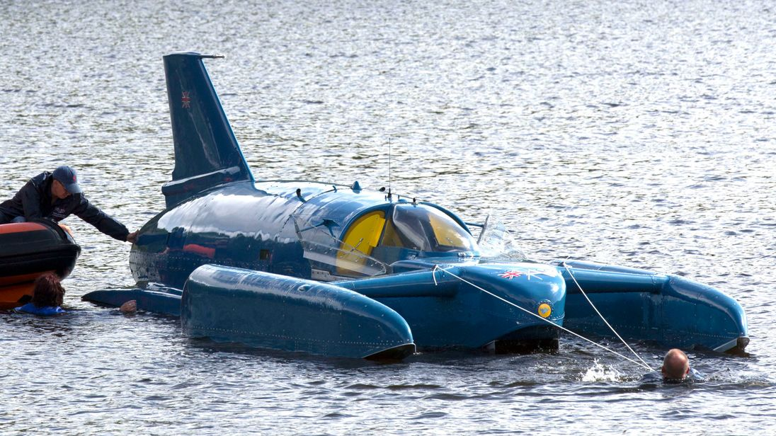 The restored Bluebird K7, which crashed killing Donald Campbell in 1967, takes to the water for the first time in more than 50 years off the Isle of Bute on the west coast of Scotland. PRESS ASSOCIATION Photo. Picture date: Saturday August 4, 2018. See PA story HERITAGE Bluebird. Photo credit should read: David Cheskin/PA Wire