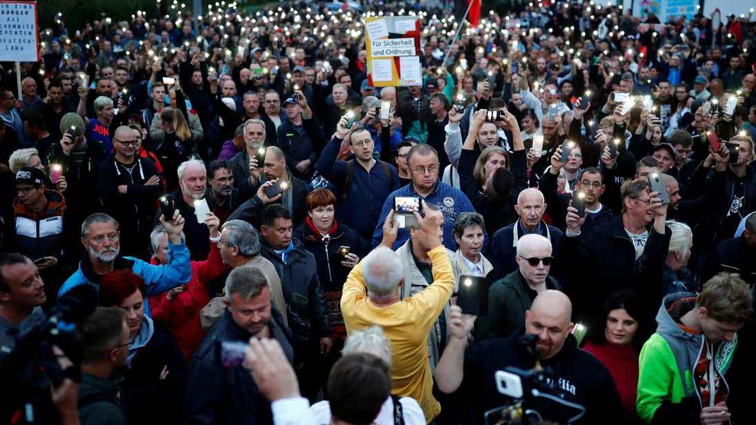 Protesters gathered again in Chemnitz