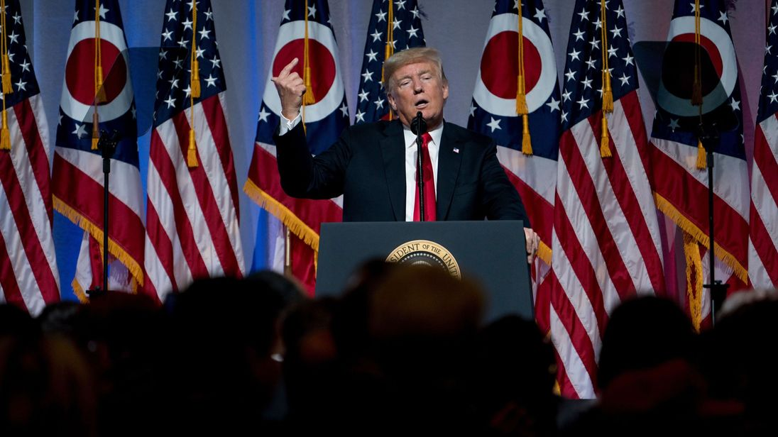 US President Donald Trump speaks during the Ohio Republican Party State Dinner