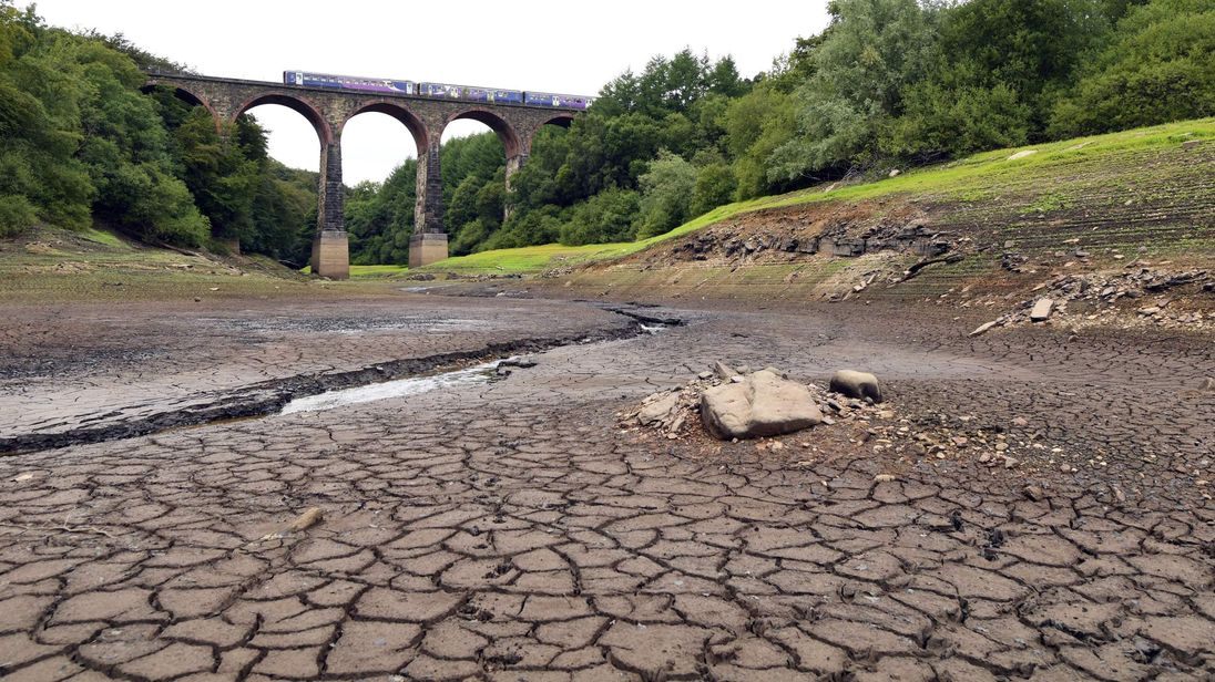 Part of the Wayoh Reservoir near Bolton has been left parched by the UK heatwave