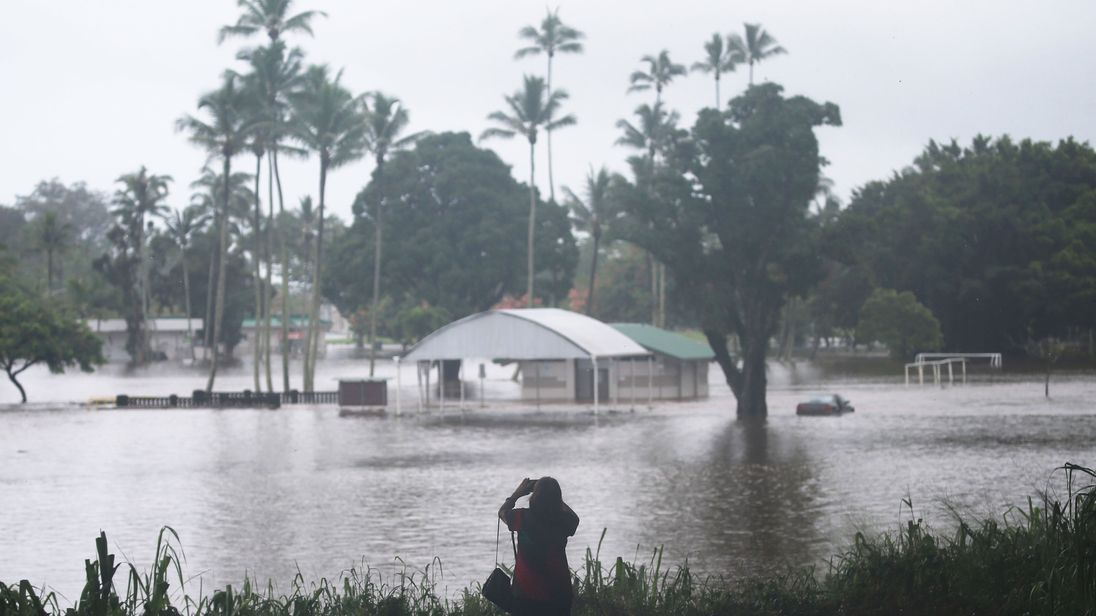 Floodwaters from Hurricane Lane rainfall on the Big Island