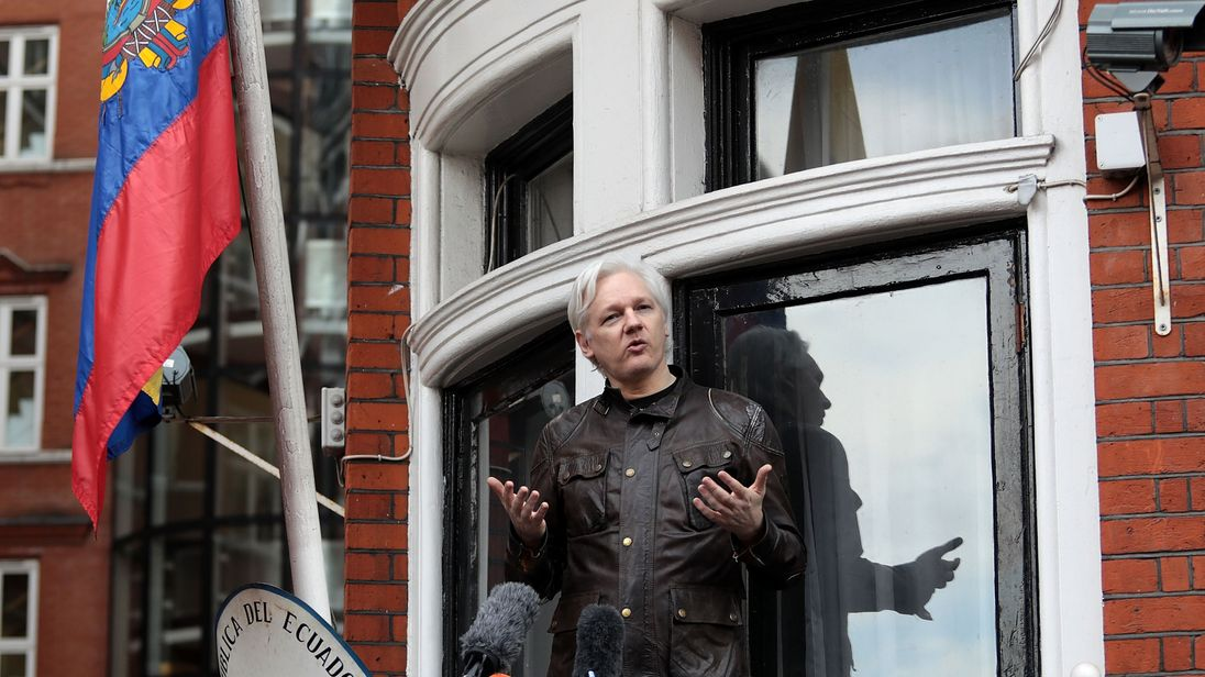 London England. Julian Assange founder of the Wikileaks website that published US Government secrets has been wanted in Sweden