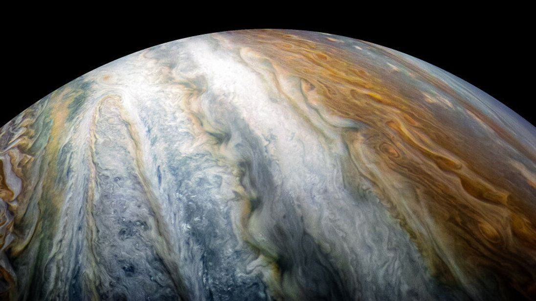 Colourful swirling cloud belts dominate Jupiter's southern hemisphere in this image captured by NASA's Juno spacecraft. Pic: NASA