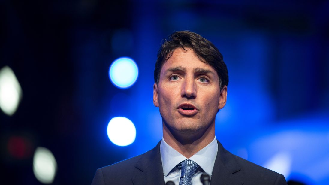 Justin Trudeau answers questions from the media in Montreal