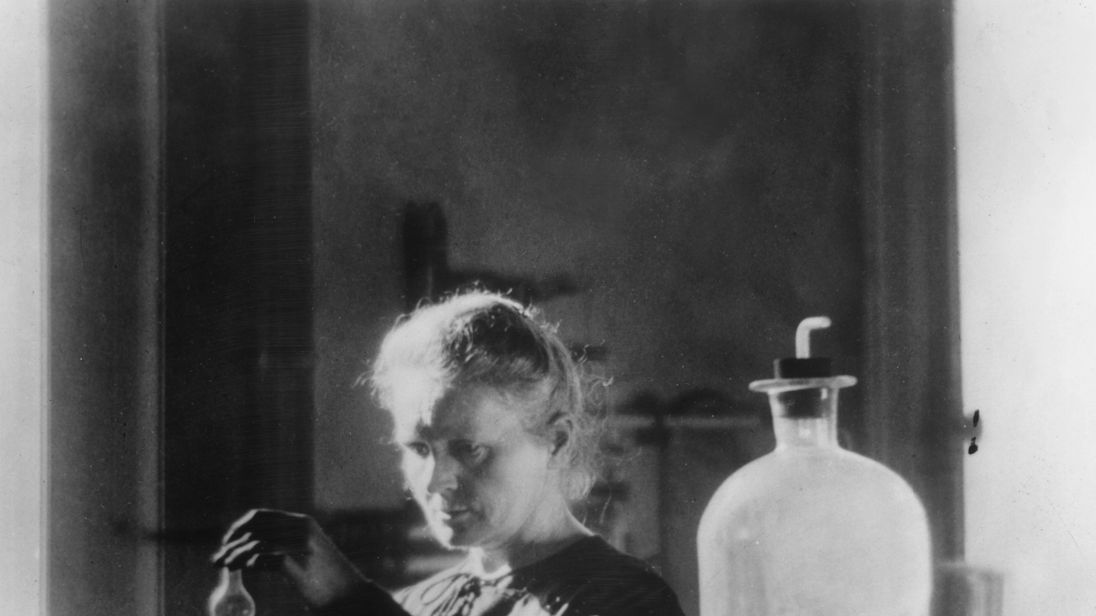 Polish born French physicist Marie Curie (1867 - 1934) in her laboratory in 1910
