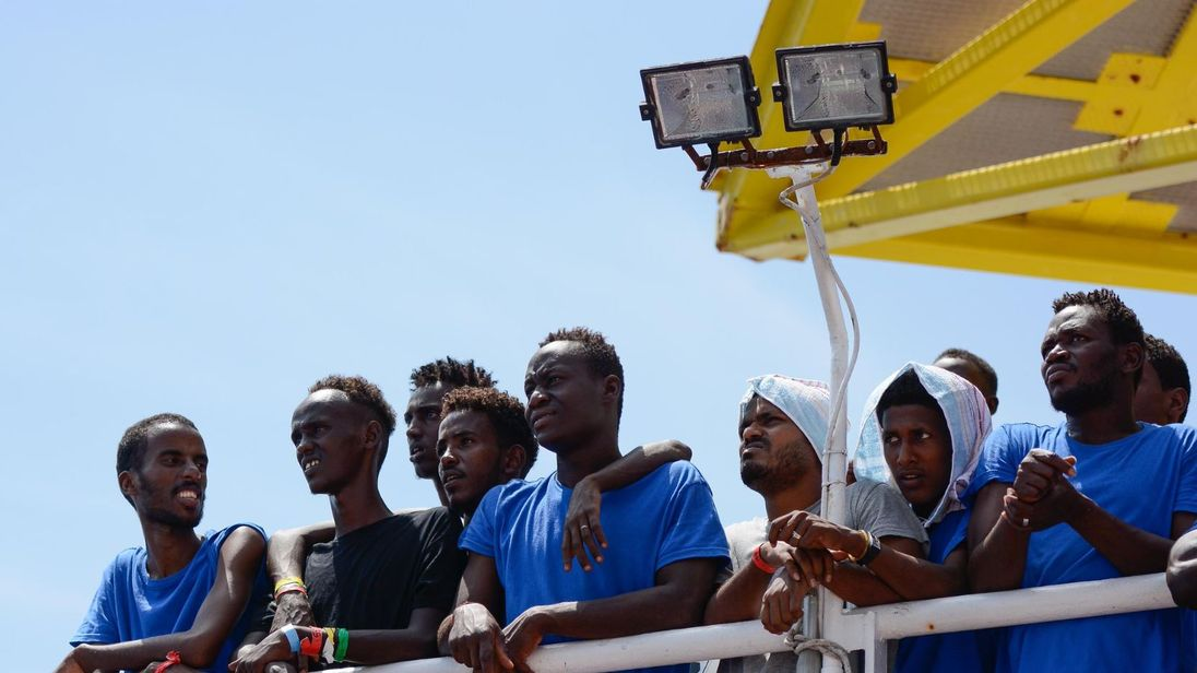 Migrants picked up the Doctors Without Borders Sea boat the Aquarius. 141 were rescued and are now being refused permission to dock in Italy and Malta. Pic Guglielmo Mangiapane SOS Mediterranee