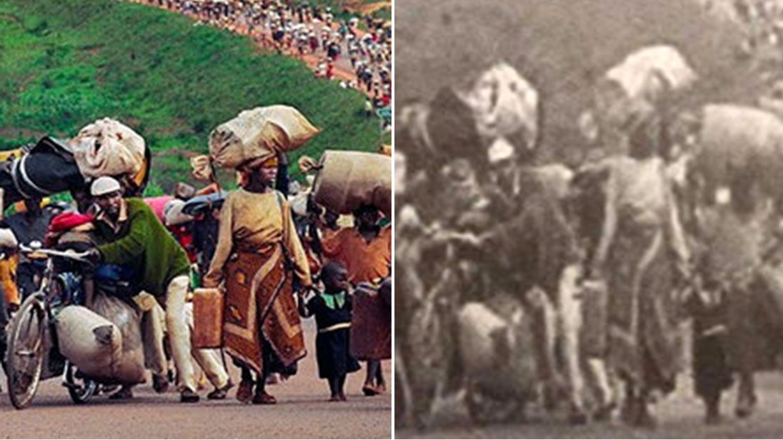 (L) The migration of Rwandan Hutu refugees in 1996 following violence in Rwanda and (R) Myanmar army's doctoring of same image