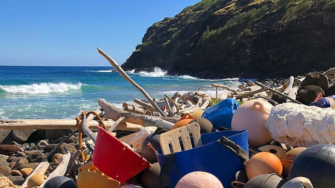 Plastic pollution at Unulau Bay