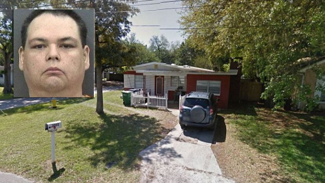 Brian Sebring (pictured) shot Alex Stephens outside Mr Stephens' house (also pictured). Pics: Google/Tampa Police