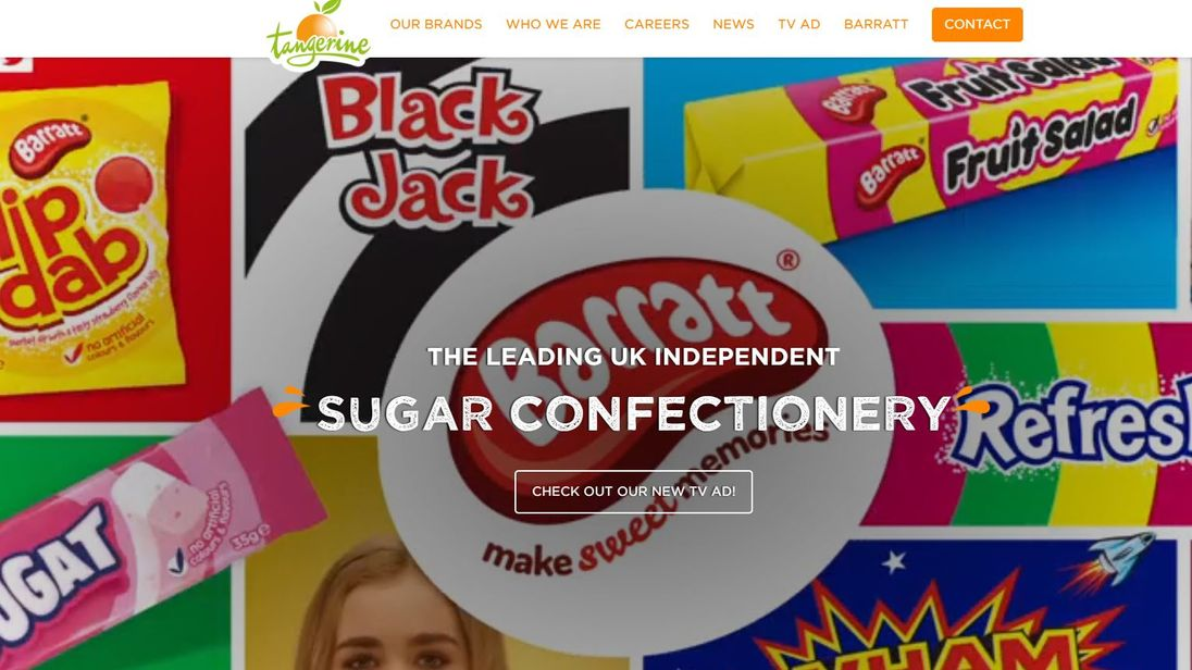 Screen shot of Tangerine Confectionary's website