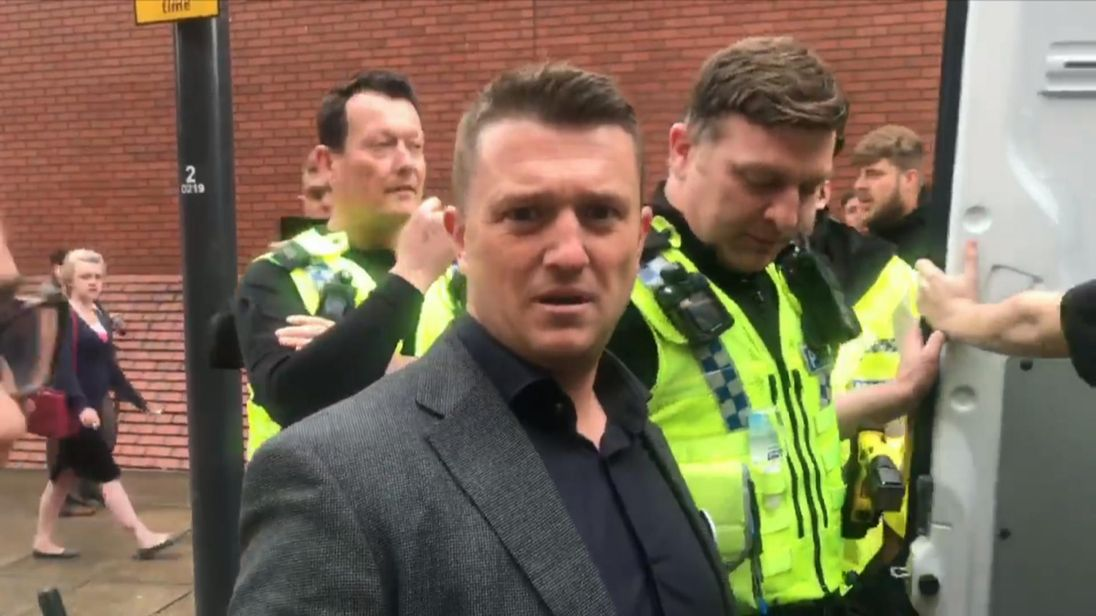 Still from the video of Tommy Robinson being arrested in May 2018