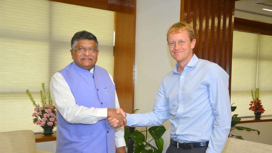 India's It Minister Ravi Shankar Prasad met WhatsApp CEO Chris Daniels
