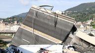 The collapsed Morandi Bridge in Genoa