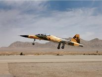 A view of the newly unveiled Iranian fighter jet in Tehran