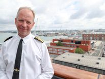 """Commanding officer of HMS Queen Elizabeth, Captain Jerry Kyd, on board as final preparations are made prior to her setting sail for the US to undergo flight trials with the F35B for the first time. He called the landing """"the culmination of a """"national endeavour""""."""