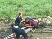 Man and parrot pulled from mud like 'quicksand'