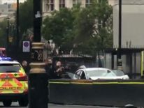 Police attend car crash scene near Houses of Parliament
