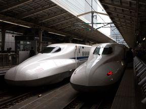 Shinkansen bullet trains are stopped at Tokyo Train Station