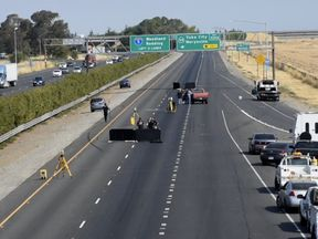 The fight began on Interstate 5 near Sacramento. Pic: The Sacramento Bee
