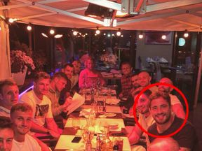 Danny Cipriani with his Gloucester team mates before the alleged offence
