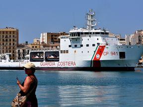 The migrants are on board the Diciotti coast guard ship in Lampedusa harbour. File pic
