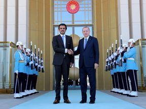 Turkish President Erdogan meets with Emir of Qatar Sheikh Tamim bin Hamad al-Thani in Ankara