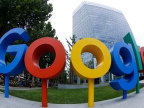 The brand logo of Alphabet Inc's Google outside its office in Beijing, China