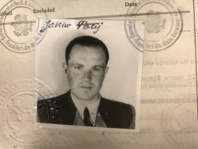 Jakiw Palij in his 1949 visa photo upon arrival in the US