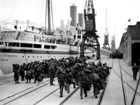 British troops prepare to board Empire Windrush in Southampton heading to Korea