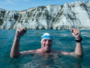 Lewis Pugh was jubilant as he reached the white cliffs of Dover