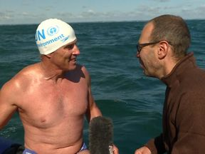 Thomas Moore interviews Lewis Pugh before the pair dive into the water