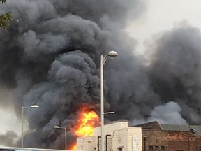 Tara Stewart-Milne shared this image of the blaze with thick smoke filling the sky