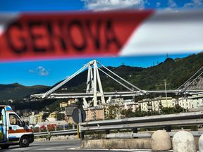 Collapsed Morandi Bridge in Genoa