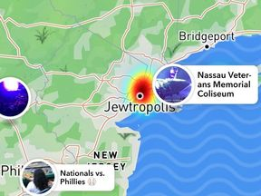New York City was renamed Jewtropolis on Mapbox maps used by apps such as Snapchat. Pic: Snapchat